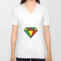 reggae V-neck T-shirts featuring Reggae Diamond by Grime Lab