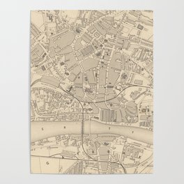 Vintage Map of Newcastle England (1851) Poster