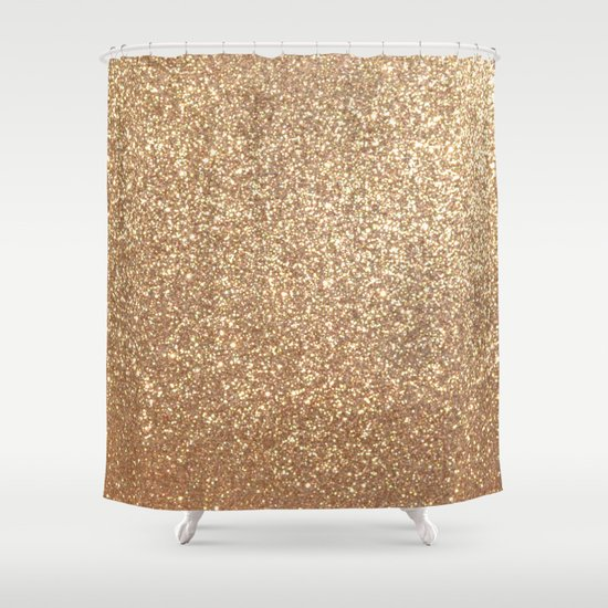 Copper Rose Gold Metallic Glitter Shower Curtain By Podartist