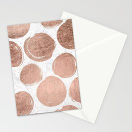 Modern rose gold foil polka dots and splatters white marble Stationery Cards
