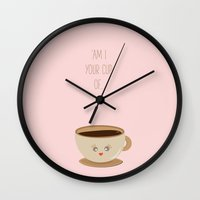 wallet Wall Clocks featuring 'Am I your cup of tea?' by aPersonalidea