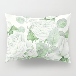 Bouquet Of Pastel Green Roses Pillow Sham