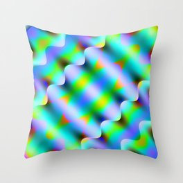 Bright pattern of blurry light blue and pink flowers in a pastel kaleidoscope. Throw Pillow