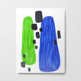 Lime Green Blue Mid Century Modern Abstract Minimalist Art Colorful Shapes Vintage Retro Style Metal Print