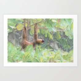 Chalk painting of sloth hanging from a tree Art Print