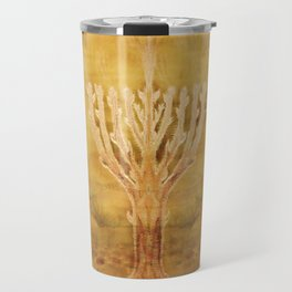 Candelar-Chanukkah light-light-judaica art-hand painted-bright colors Travel Mug