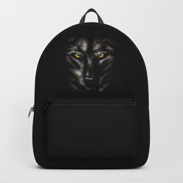 Close up portrait of wolf. Beautiful and dangerous beast of the forest. Black background illustration Backpack