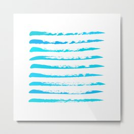 Turquoise blue stripes, hand painted rough texture, squared Metal Print