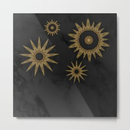 Gold Flower Mandalas over Black Marble Metal Print