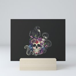 Colorful floral sugar skull with flowers and black raven Mini Art Print