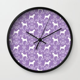 Chihuahua silhouette purple and white florals flower pattern art pattern dog breed Wall Clock