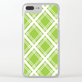Lime and White Criss-Cross Plaid Pattern Clear iPhone Case
