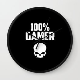 gamer logo and quote Wall Clock