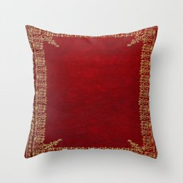 Red and Gilded Gold Book Throw Pillow