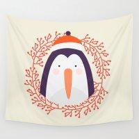 penguin Wall Tapestries featuring penguin by Taranta Babu