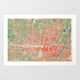 Munich city map classic Art Print
