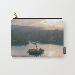 Lake Bled Island with Church at Sunset | Slovenia Travel | Europe Drone Aerial Photography Carry-All Pouch