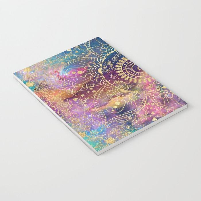 Gold watercolor and nebula mandala Notebook