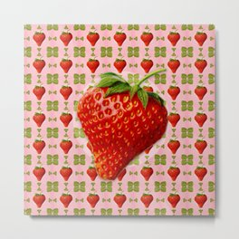 Vintage Strawberry Pattern Metal Print