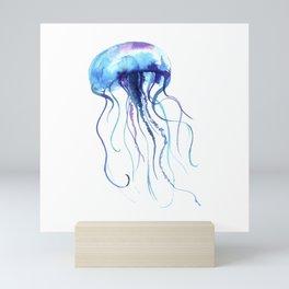 Blue & Purple Abstract Watercolor Jellyfish on White Minimalist Art Coast - Sea - Beach - Shore Mini Art Print