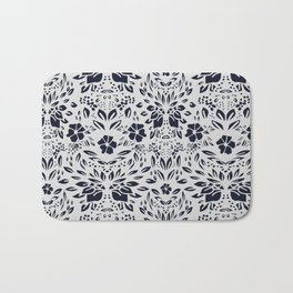 Abstract Geometric - kind of damasc french style wallpaper  - Gray and Black Bath Mat