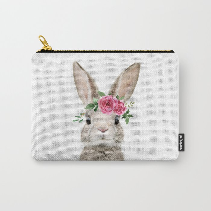 Baby Rabbt with Flower Crown Carry-All Pouch