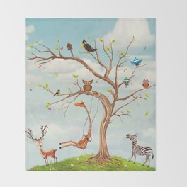 Tree with animals.Bunch of cute little creatures gathered on the branches of tree Throw Blanket