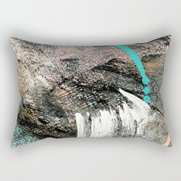 (Un)Tamed [2]: a vibrant, colorful abstract piece in pink, teal, black and white Rectangular Pillow