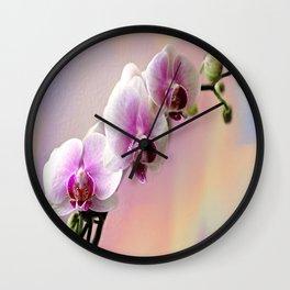 Pastel Rainbow Orchid Wall Clock