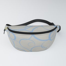 Blue and Gray Funky Ring Pattern V47 2021 Color of the Year Lead Crystal 20-0087 and Placid Blue Fanny Pack