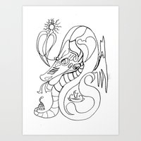 sea horse Art Prints featuring Sea horse. by sonigque