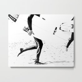 Surfers // Modern and Vintage Beach Aesthetic Photography of Cool Artsy Black and White Landscape Metal Print