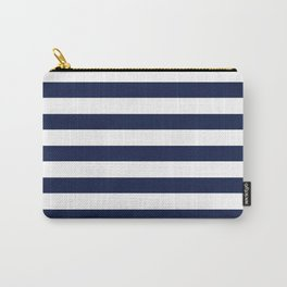 Nautical Navy Blue and White Stripes Carry-All Pouch