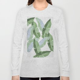 Tropical Leaves 2 Blue And Green Long Sleeve T-shirt