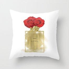 Red Roses & Fashion Perfume Bottle Throw Pillow