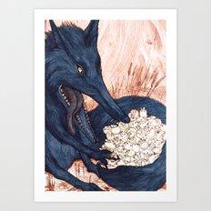 Une Faim de Loup (The Black Wolf) Art Print