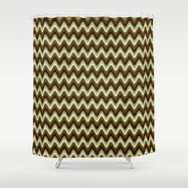 Brown Monochromatic zig-zag Shower Curtain
