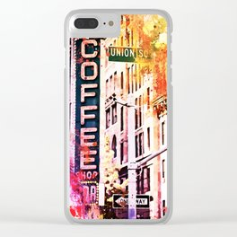 NYC Watercolor Collection - Coffee Shop Union SQ Clear iPhone Case