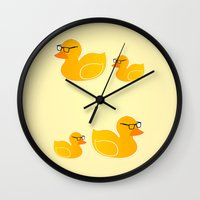 duck Wall Clocks featuring Duck by Studio14