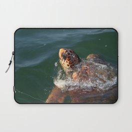 Loggerhead Turtle (Caretta Caretta) Breaking The Sea Surface Laptop Sleeve