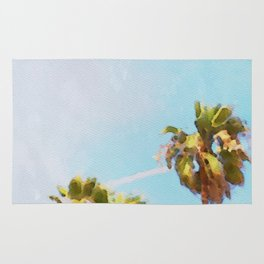 palm trees watercolor Rug