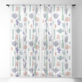 Cacti and Succulents Sheer Curtain