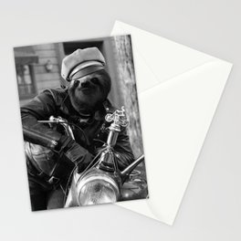 Sloth on a motorcycle Stationery Cards