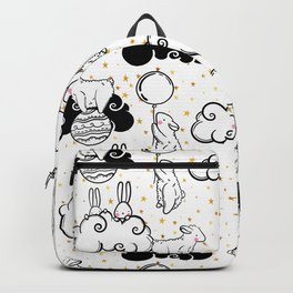 Cute vector seamless pattern of animals children, rabbits, sheep, balls and clouds and golden stars Backpack