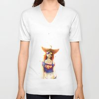 3d V-neck T-shirts featuring 3D by Kate  Fox