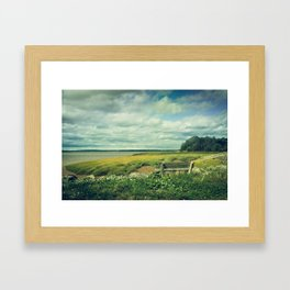 Bench at Newport Landing Framed Art Print