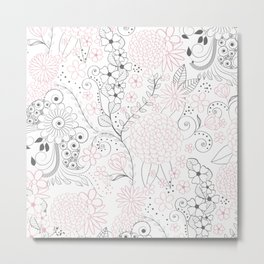 Classy doodles hand drawn floral artwork Metal Print