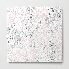 Classy doodles hand drawn floral artwork Metal Print