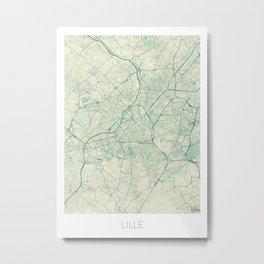 Lille Map Blue Vintage Metal Print