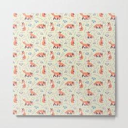 Fox and Bird Pattern Metal Print